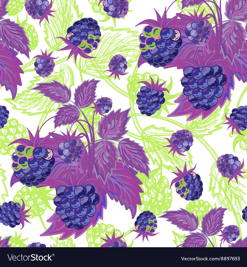 Seamless violen green pattern with raspberries vector