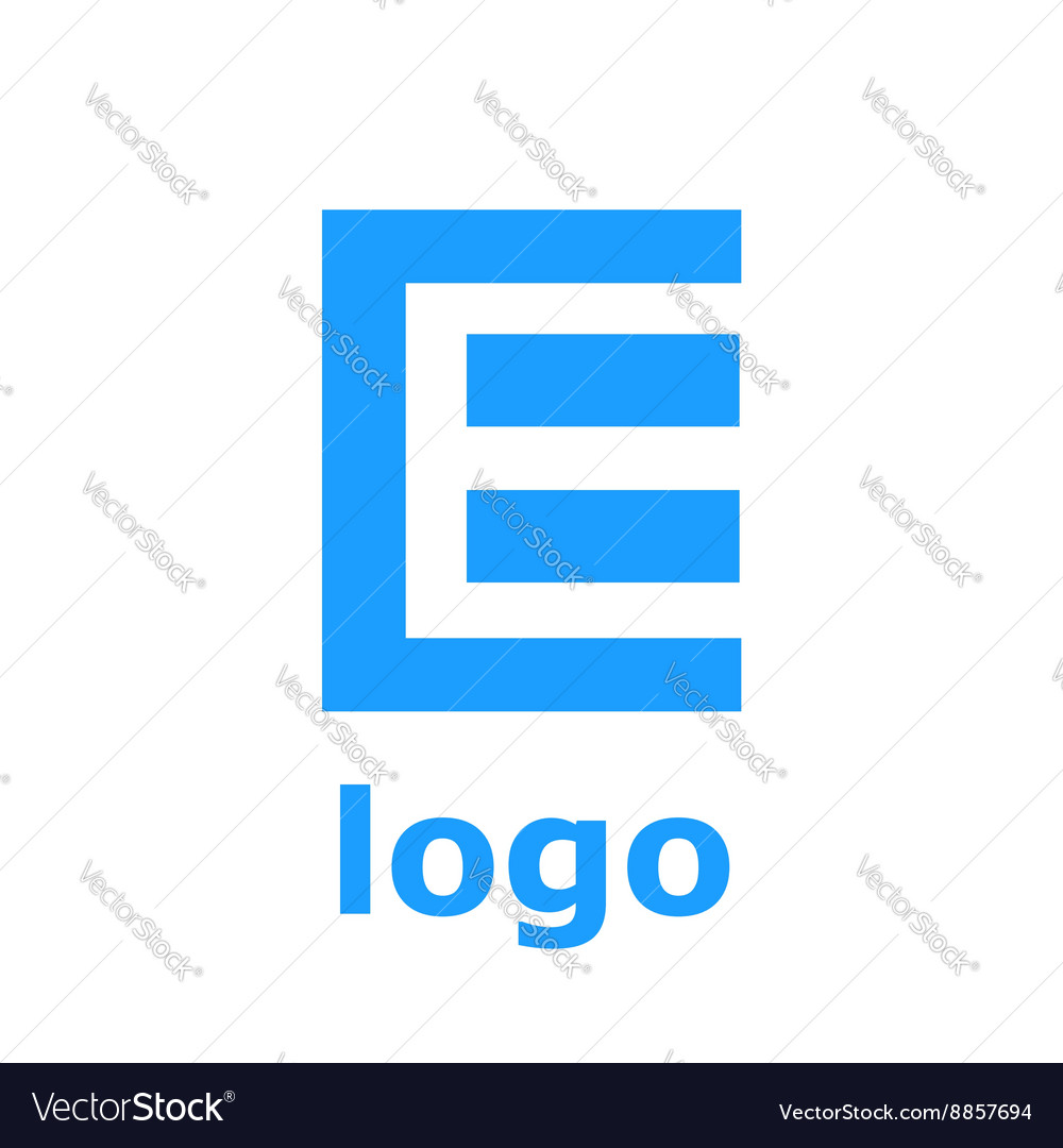 Logo e letter isolated on white background vector