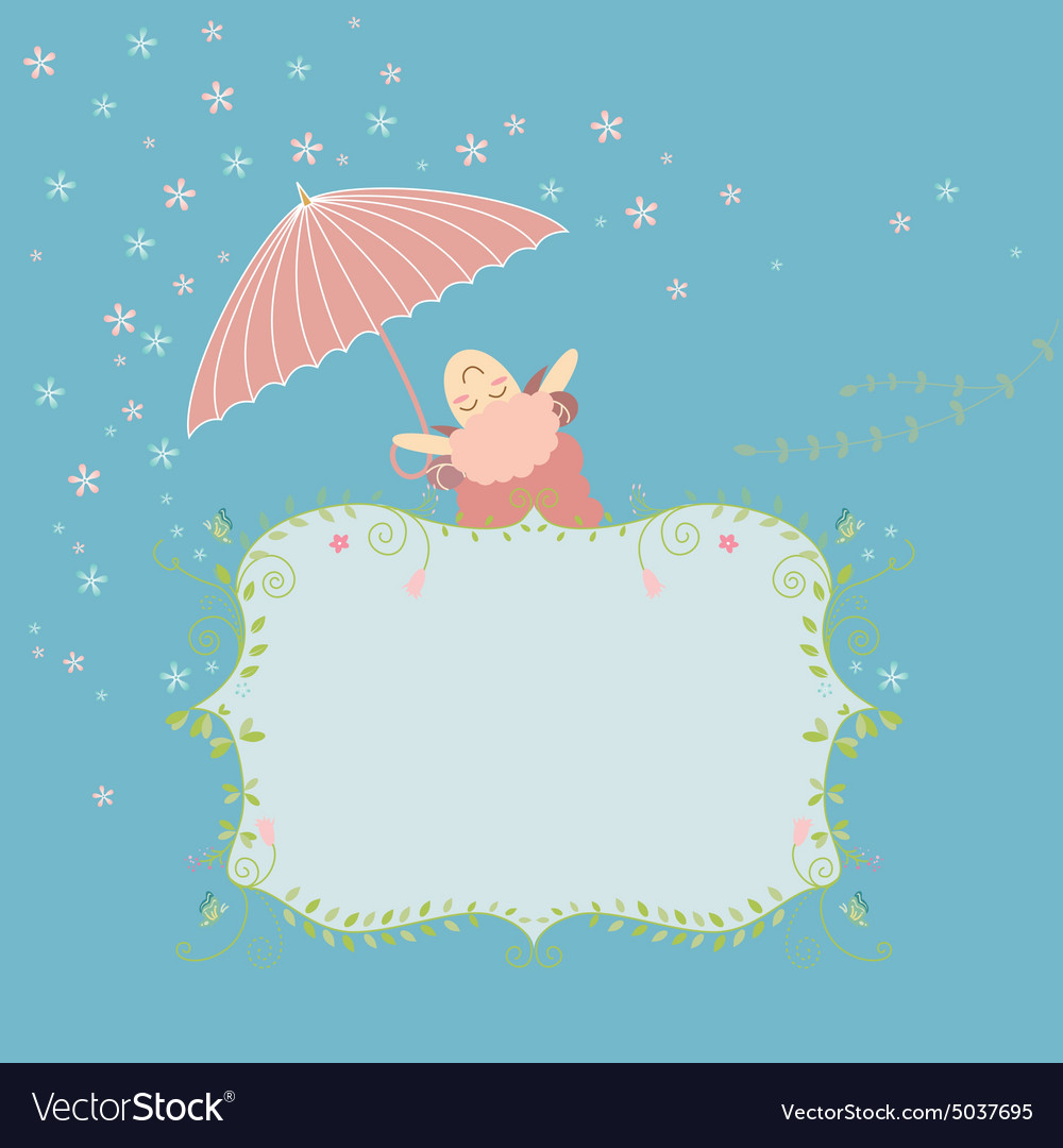 Greeting card with cute sheep vector