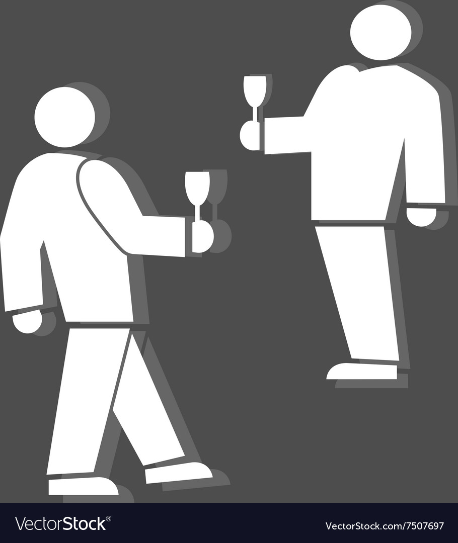 People icon two persons with drinks meeting vector