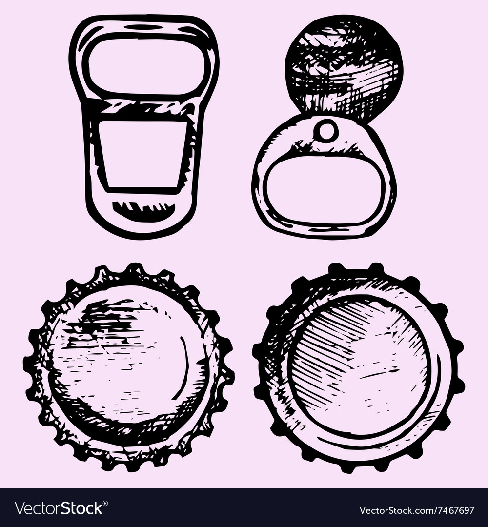 Set bottle caps metal ring pull vector