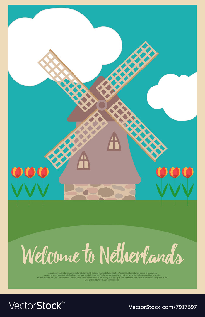 Windmill and tulips on a poster welcome to netherl vector