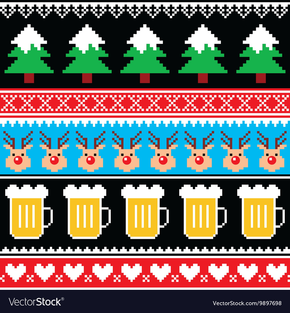Christmas jumper pattern with beer vector
