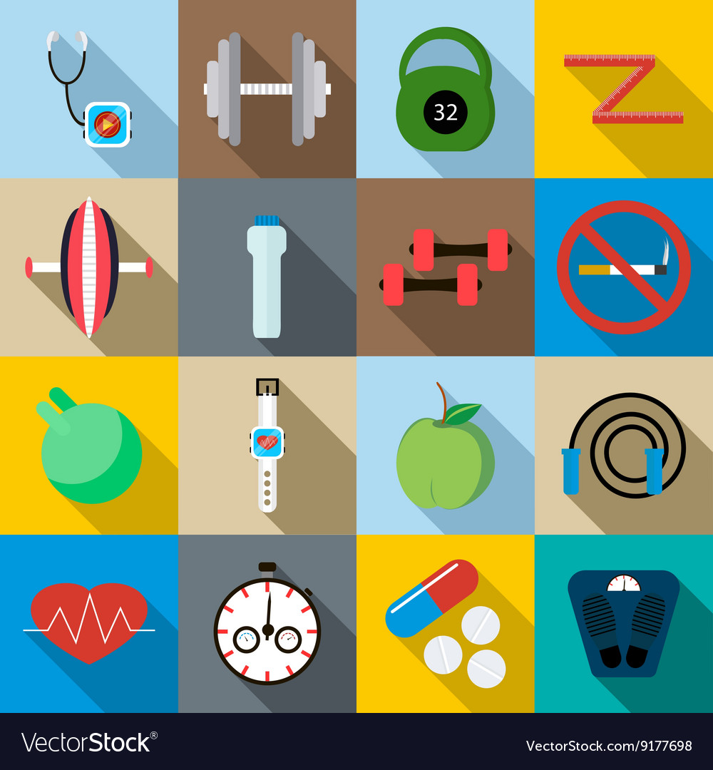 Fitness icons set flat style vector