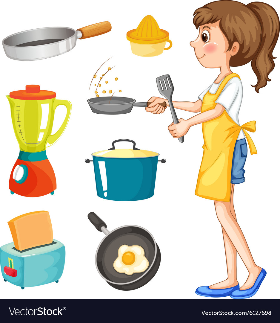Woman cooking and other kitchen objects vector