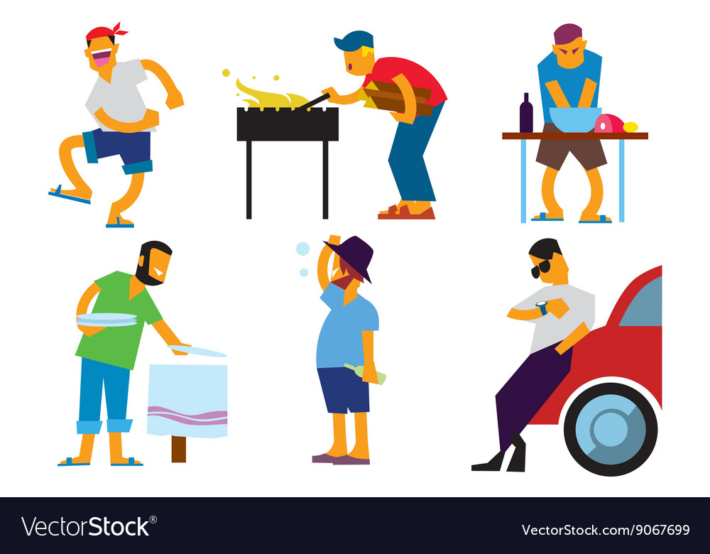 Bbq people isolated on white background vector