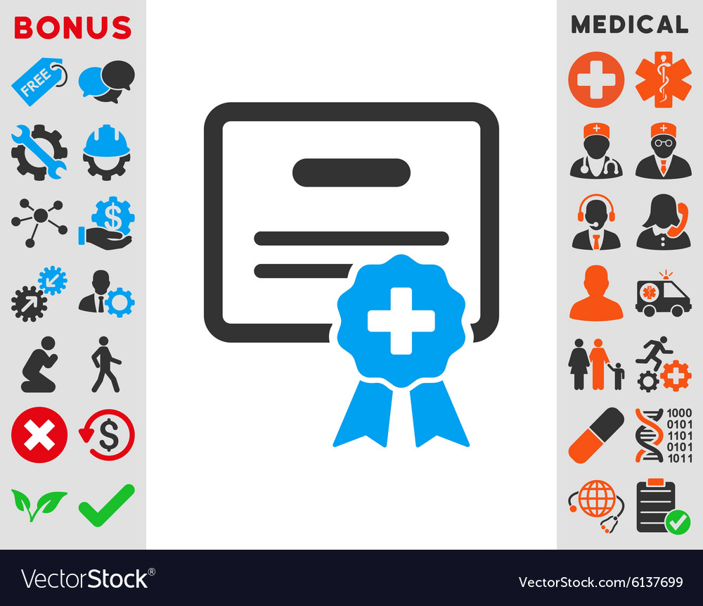 Medical certification icon vector