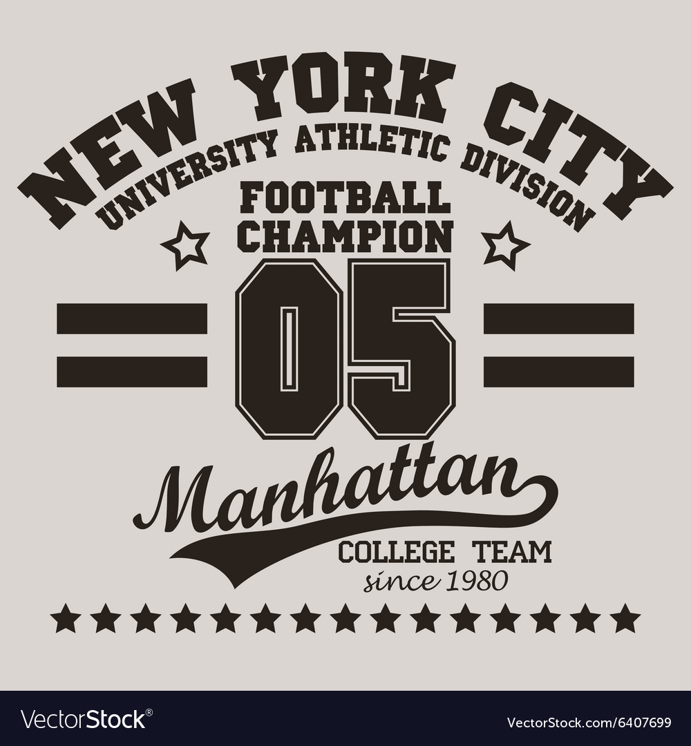New york city typography football tshirt vector
