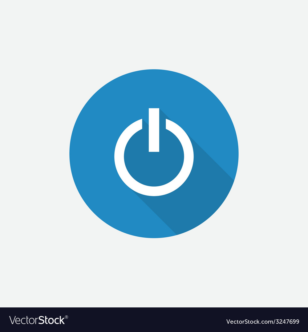 Power on flat blue simple icon with long shadow vector