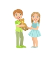Boy Presenting A Teddy Bear To Girl vector image
