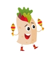 Smiling big eyed burrito playing Mexican maracas vector image