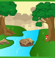 blue river flowing across green forest vector image