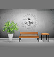 tropical tree in cement pots with wooden chair vector image vector image