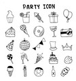 Hand drawn doodle party icons set cerebrate vector image
