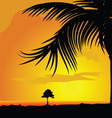 palm and tree in dsert vector image