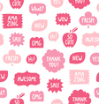 Pink color phrases seamless pattern on white vector image vector image