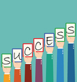 Businessman Hold Success Wording Tag vector image