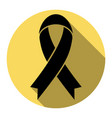 black awareness ribbon sign flat black vector image