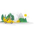 flat camping road trip scene vector image