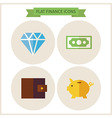 Flat Finance Website Icons Set vector image