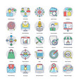 Flat icons set of digital and internet mar vector image