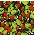 Strawberries seamless background with green leaves vector image