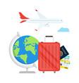 travel planning passport airplane ticket world map vector image