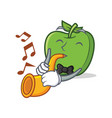 with trumpet green apple character cartoon vector image