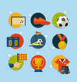 soccer game icon set in flat style vector image vector image