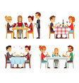 people in restaurant eating dinner flat vector image