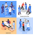 hospital 4 isometric icons concept vector image
