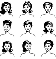 Collection of portraits beautiful pin up girls vector image