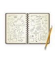 Pencil and open notebook with painted arrows vector image