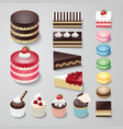 Cakes flat design dessert bakery set vector image vector image
