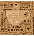 Cup of coffee with word cloud on fabric background vector image