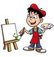 Cartoon artist boy vector image
