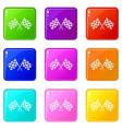 Checkered racing flags set 9 vector image