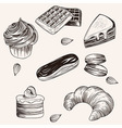 various cakes and bakery doodle sketch set vector image