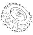 wheel tractor outline vector image