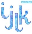 Winter watercolor font IJKL vector image vector image