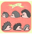 Set of cute cartoon hedgehogs vector image