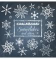 Chalkboard set of snowflakes vector image