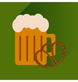 flat icon with long shadow glass beer and snack vector image