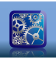 Button blue with gears vector image