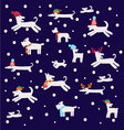 dogs pattern Christmas set with dog silhouettes vector image