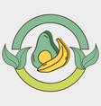 fresh avocado and banana organ fruits with leaves vector image