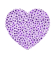 Heart mosaic of violet dots in various sizes and vector image