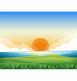 Nature scene with sunset vector image