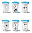Set smiling plastic cups 005 vector image