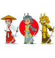 cartoon ninja samurai with sword characters set vector image